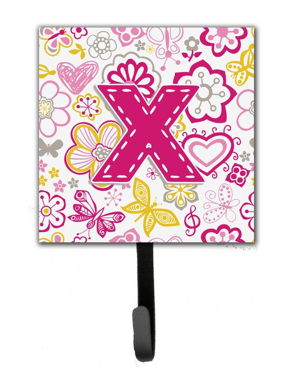 Letter X Flowers and Butterflies Pink Leash or Key Holder CJ2005-XSH4
