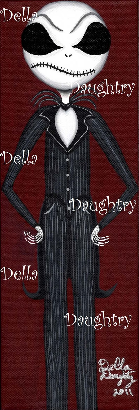 """""""A Tribute to Jack Skellington"""" A 4x 12 acrylic on stretched canvas. By Della Daughtry. #bigeyeart"""