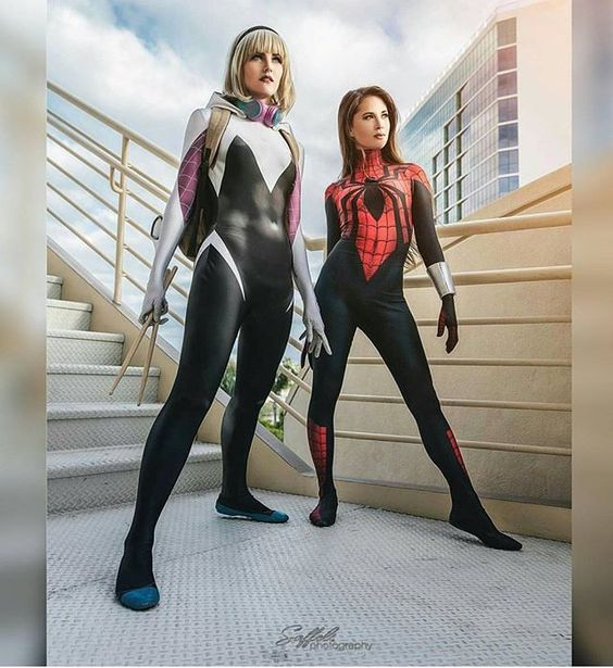 @hendoart in her beautiful Mayday Parker cosplay And @maidofmight in her beautiful Spidergwen cosplay Photo by @saffelsphotography: