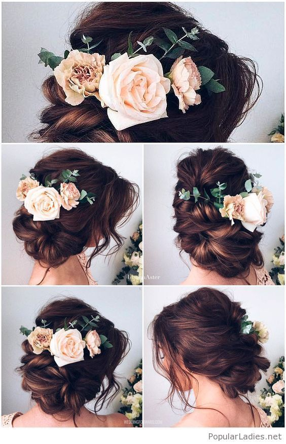 Brown hair updo for the bride with flowers: