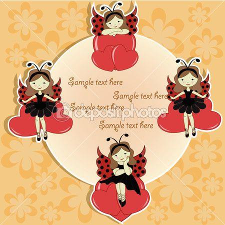 Vector cartão com uma linda garota e corações — Ilustração de Stock #10160935