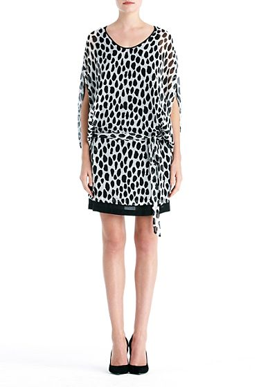 DVF   Robyn dress in animal dots black and white combo, Resort 2012/13: Zoom