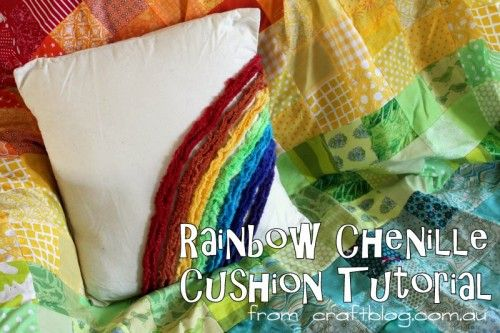 Rainbow Chenille cushion tutorial at CraftBlog
