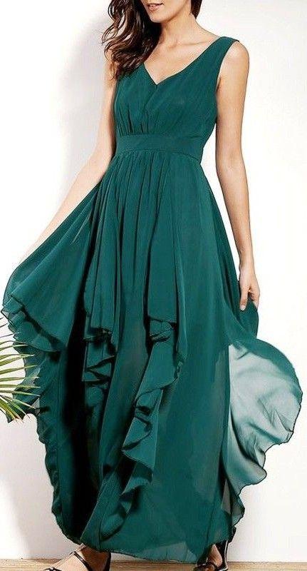 Women's Ruffle-Tiered Chiffon Maxi Dresses
