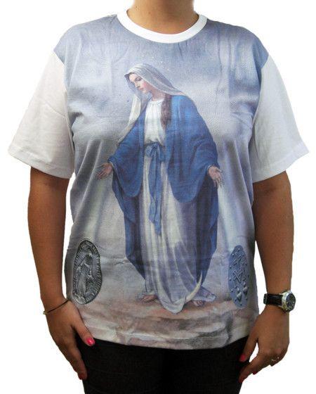 Camiseta Nossa Senhora das Graças marca Ágape - Santinhos Ajuda Divina