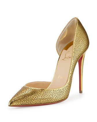 Galu Half-d\'Orsay 100mm Red Sole Pump, Gold by Christian Louboutin at Neiman Marcus.