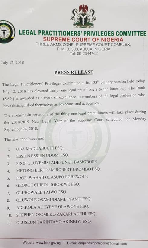 Breaking 31 Lawyers Elevated To The Rank Of San See Full List Barristerng Com Law Blog Legal Practitioner Ranking