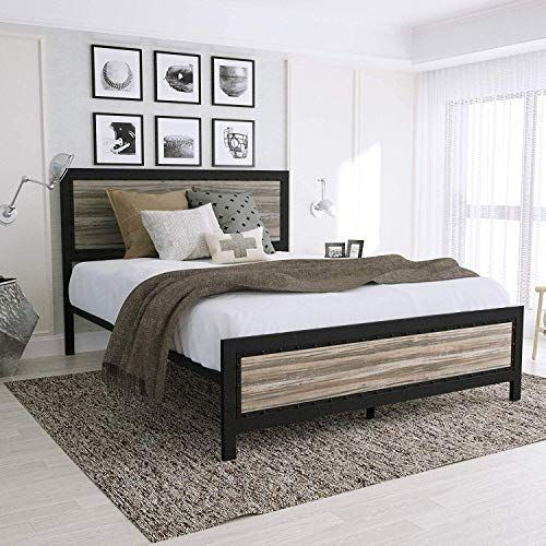 Amooly Queen Metal Bed Frame With Wood Headboard Platform Bed