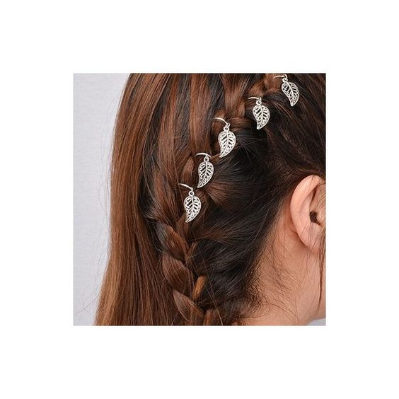 Rotita Leaf Shape Decorated Hair Rings (8.05 CAD) ❤ liked on Polyvore featuring accessories, hair accessories, silver, leaf hair accessories, silver hair clips, hair clip accessories, leaf hair clip and silver hair accessories