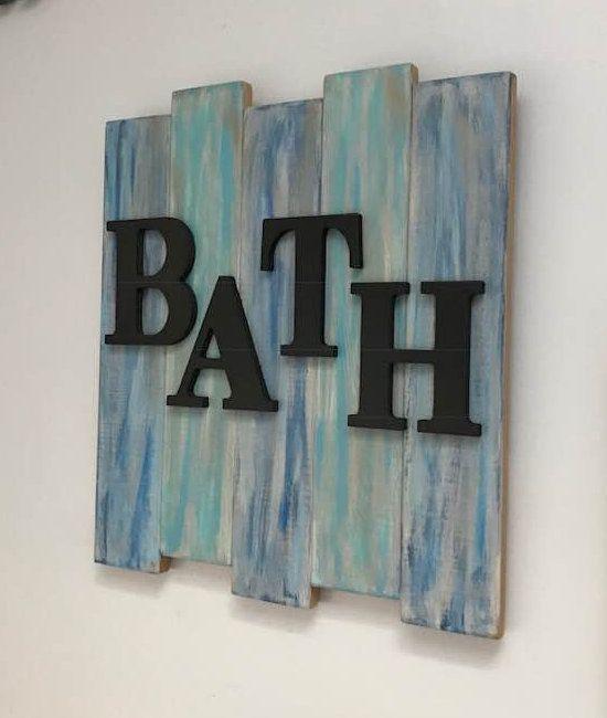 Bath Wall Sign Bathroom Wall Decor Farmhouse Bathroom Decor