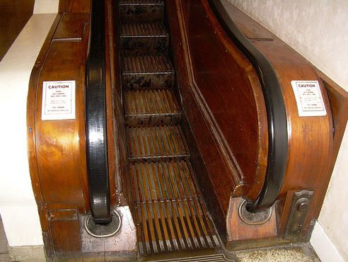 Wooden escalator ~ old school  I remember these from Polsky's and Oneils in Akron Ohio