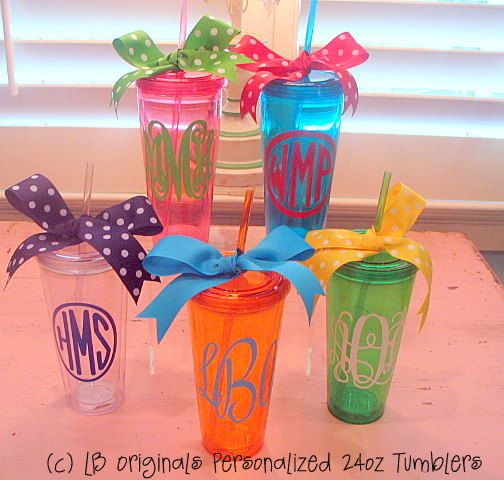 Personalized Large 24oz Tumblers with Lid and by preppypapergirl, $20.00