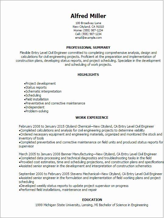 Entry Level Engineering Resume Luxury Professional Entry Level Civil Engineer Resume Templates Civil Engineer Resume Engineering Resume Job Resume Samples