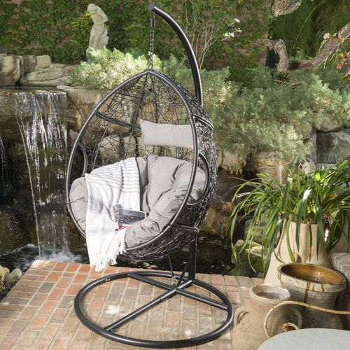 Dawson Outdoor Basket Swing Chair With, Outdoor Swing Chair With Stand Canada
