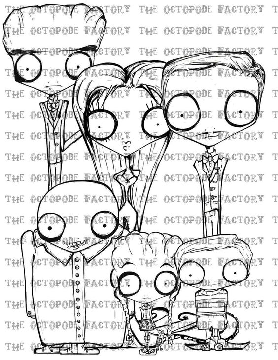 Instant Download The Addams Family Set Of 7 Digital Stamp Etsy In 2021 Digital Stamps Digi Stamps Doodle Coloring