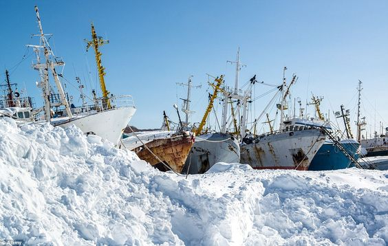Ice ice baby: A Russian shipyard in a small bay south of Petropavlovsk-Kamchatsky is the setting for this collection of rusting former glories surrounded by snow and ice