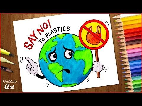 Plastic Mukt Bharat Drawing Stop Plastic Bags Pollution Poster