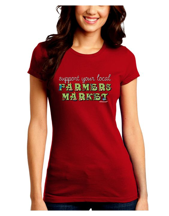 TooLoud Support Your Local Farmers Market - Color Juniors Crew Dark T-Shirt