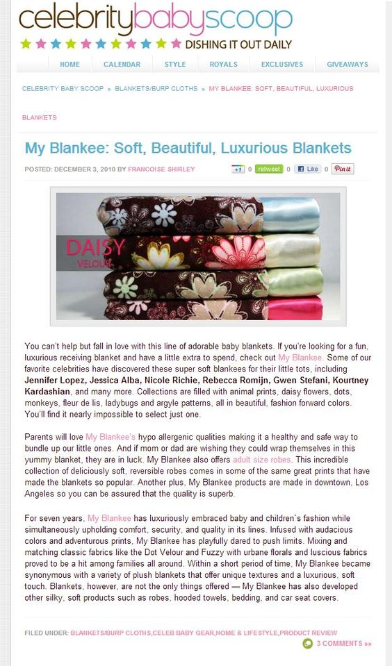 My Blankee Inc. Blankets featured on Celebrity Baby Scoop!