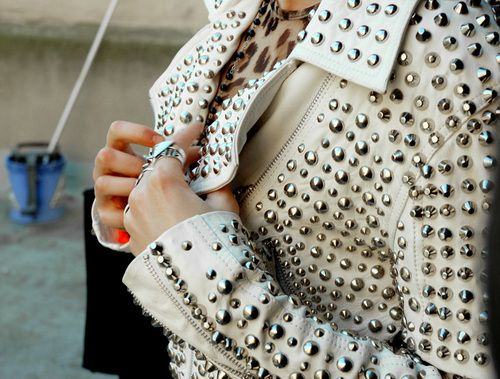 : Studded White, Studs Spikes, Studded Leather Jacket, White Leather, Leather Jackets, Studded Jackets