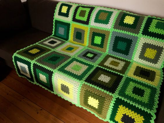 Why not treat yourself or someone you love to this bright green crochet blanket. This vibrant green afghan blanket would cheer up any room with its big splash of color.  Measuring 47 inches x 47 inches (120cm x 120cm) this green crochet afghan is the perfect size for all the family.  This green granny squares blanket would look great in your living room, sun room, kids room or bedroom. The colors in this crochet afghan would also make it a great gift for men, women or children. This green af...