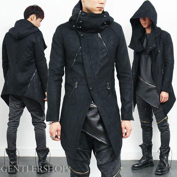 Details about Avant Garde Mens Fashion High Neck Hoodie Black ...