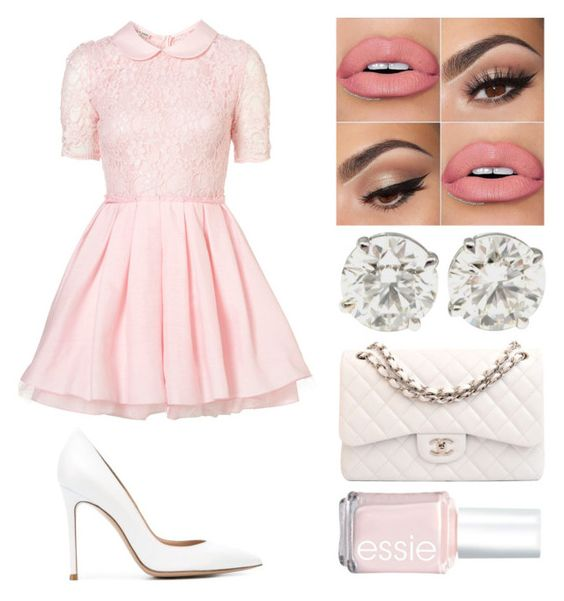 """""""Last Kiss"""" by emmmalaw ❤ liked on Polyvore featuring Jones + Jones, Chanel, Essie and Gianvito Rossi"""