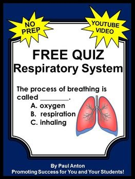 Respiratory System: Here is a free respiratory system worksheet or quiz and answer key to go along with a free video.  The video link is in the free download.  This quiz and video makes a great addition to your science center activity.---------------------------This activity is included in the following money-saving  bundle:Human Body Systems Mega Bundle----------------------------------You may also like:Muscular System Interactive NotebookSkeletal System Interactive NotebookDigestive System…