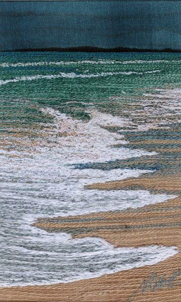 """Running up the Beach"" free motion machine embroidery 3"" by 5"" by Alison Holt"