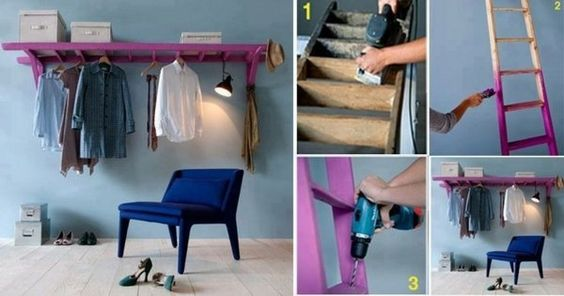 Wardrobe ideas old ladder DIY painting ideas cool design upcycling ideas