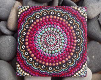 """Australiano aborigen punto pintura, diseño de la puesta del sol del Boho, Biripi artista Raechel Saunders, 4 """"x 4"""" lienzo tablero, pintura acrílica, boho"""