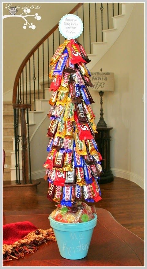 {Treat Tree} I'd go for a smaller size tree using the mini candy bars. Cool idea though!
