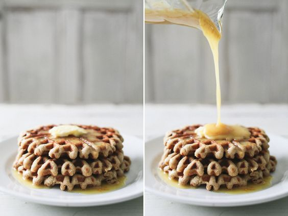 Almond Yogurt Waffles with Orange Honey Syrup