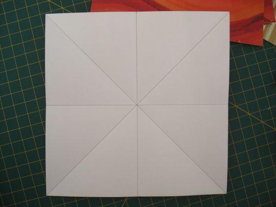Atendendo a pedidos, eis o pap!! material necessário: 8 papéis quadrados (utilizei 15x15cm), cola, 10 cm de fita de cetime 8 pérolas. dobrar conforme as marcas, parte colorida para baixo, v…