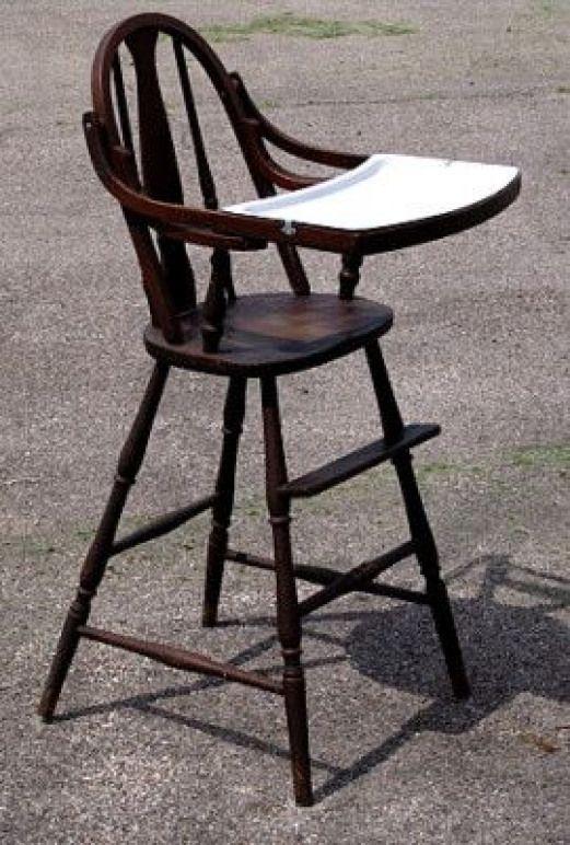 Primitive Wooden High Chair Antique Vintage Wood High Chair