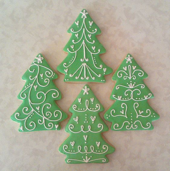 Christmas Tree Decorated Cookies: Pretty And Simple Christmas Trees
