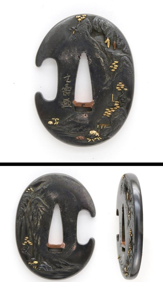 Late Muromachi period Tanto tsuba Steep hillside with a lot of pine trees carved on Shakudo plate with gold color.