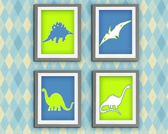 YOU PRINT Dinosaur Wall Art Dinosaur Theme Dinosaur Pictures Personalized Boy PrintABLE Set Set of 4 Nursery room Birthday Gift