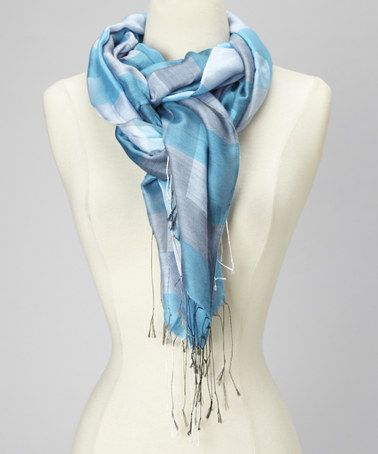 Take a look at this Turquoise & Grey Plaid Silk Scarf by Blue Pacific Fashion on #zulily today!