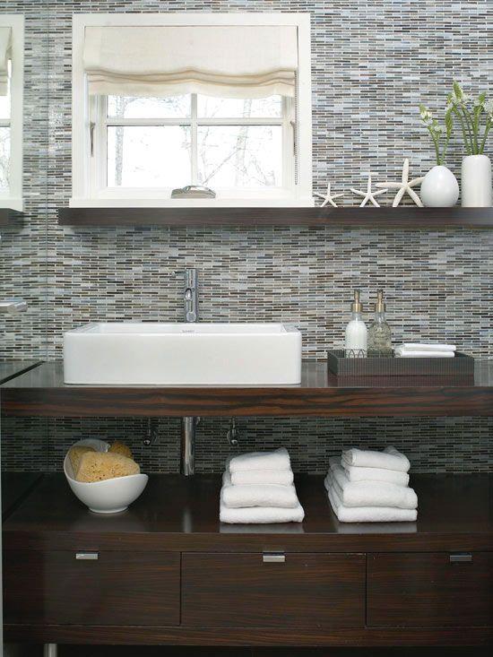 Modern decor pinterest blue tiles vanities and dark wood - Contemporary half bathroom ideas ...