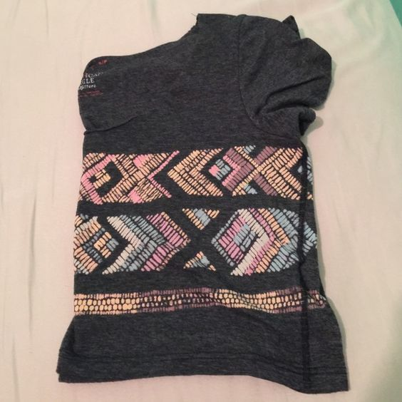 Dark gray crop top Short darn gray crop top with light pastel colored pattern. American Eagle Outfitters Tops Crop Tops