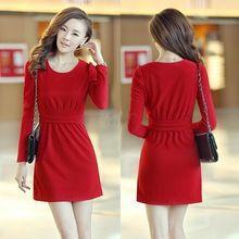 Promoção de Mini vestido de algodão de manga comprida OL cintura fina elegante estilo coreano tamanho M-XL 38(China (Mainland))
