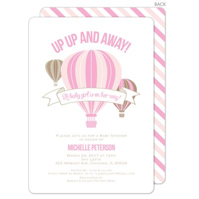 Pink Hot Air Balloon Shower Invitations