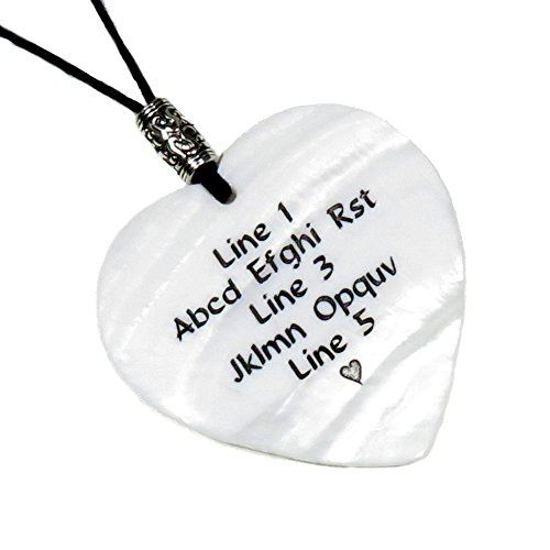 Custom Engraved Shell HEART Pendant Necklace WHITE