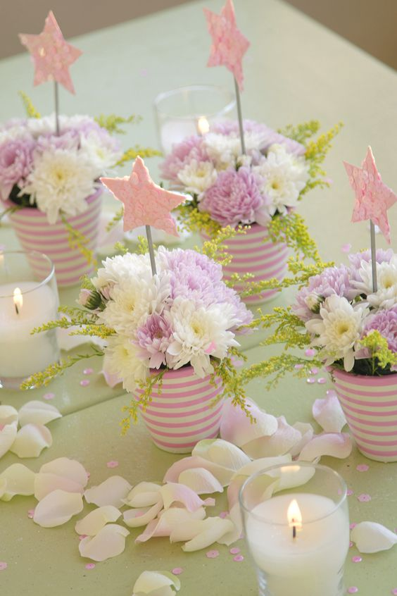 ♥ diy centerpieces - use blue/green ribbon on the cans and all white flowers with greenery :):
