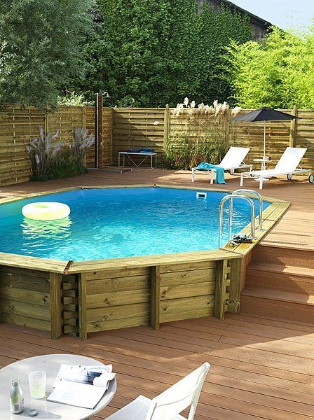 This octagonal pool has plenty of sides and it's made with a wood casing that makes it more rustic and cabin-like. You'll love hanging out in this one and you'll love how it adds to your style.