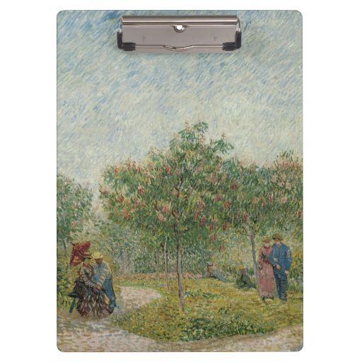 Garden in Montmartre with Lovers by Van Gogh Clipboards