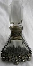 Art Deco Genuine Smokey Grey Jewelled Ormolu Glass Scent Perfume Bottle C1920