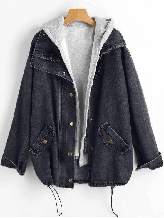 Button Up Denim Jacket And Hooded Vest Black Light Blue Pig Pink Hooded Denim Jacket Denim Coat Jacket Denim Jacket Women