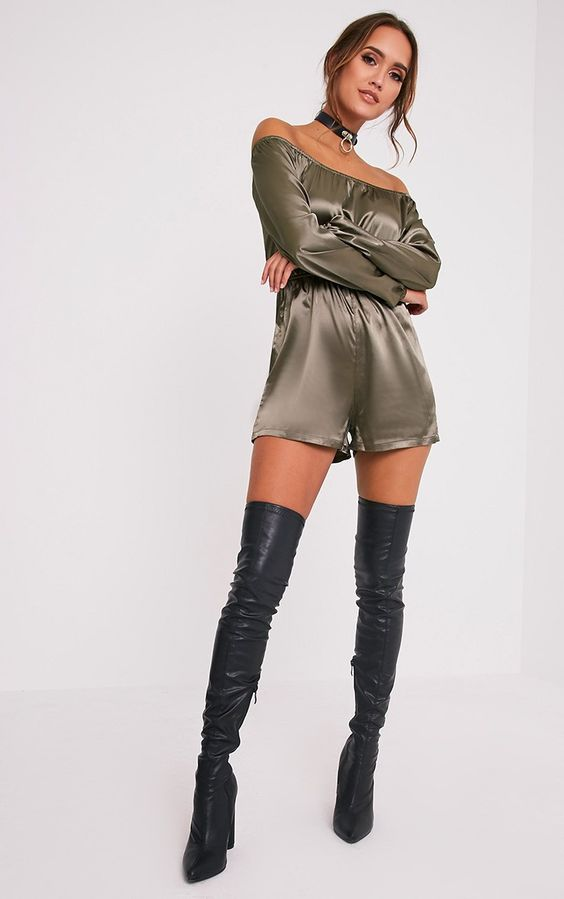 Green satin strapless playsuit with thigh boots